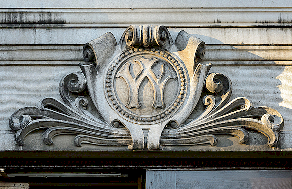 "A zoomed in picture of a ""W"" on the Agricultural Hall at UW-Madison."
