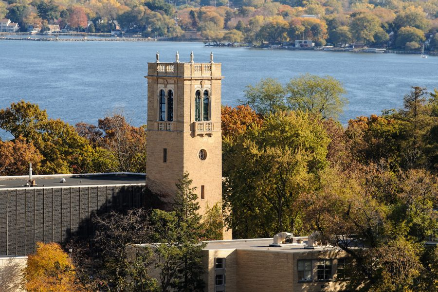 A picture of Carillon Tower with lake Mendota in the background.
