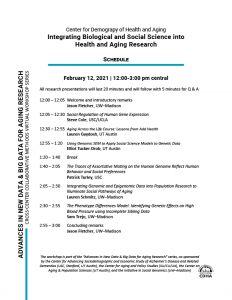 Integrating Biological and Social Science into Health and Research event schedule.