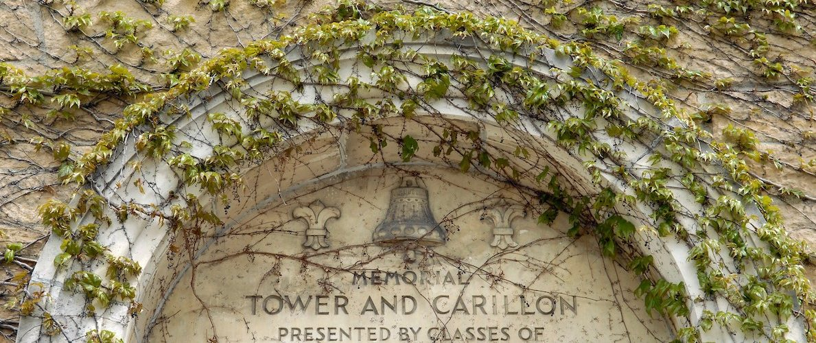 Carillon Tower covered in ivy.
